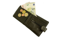 Wallet and money. Leather wallet with money and coins Royalty Free Stock Photography