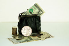 Wallet and money. Royalty Free Stock Photo
