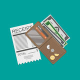 Wallet with money and receipt Stock Photo