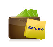 Wallet and money and success post illustration Royalty Free Stock Images