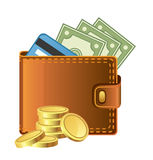 Wallet with money vector illustration