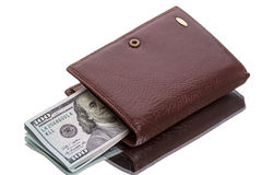 Wallet with new dollars stock images