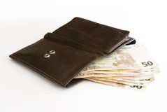 Wallet with Notes. Leather Wallet with 50 Euro Notes stock image