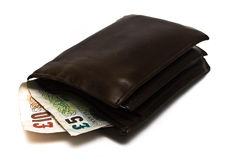 Wallet with notes royalty free stock photos