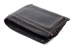 Wallet old brown no money isolated Stock Photography