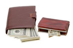 Wallet and old purse Royalty Free Stock Images