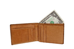 Wallet with one dollar Stock Photos
