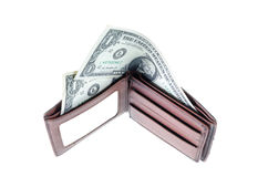 Wallet. One dollar bank in wallet Stock Photos