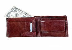 wallet with one dollar bill Stock Image