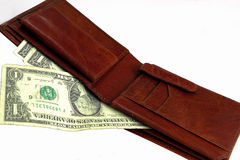 Wallet with one dollar bills Stock Photography