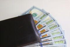 wallet with one hundred dollar bills Royalty Free Stock Photo