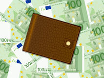 Wallet on one hundred euro background. Wallet on a one hundred euro banknotes background vector illustration