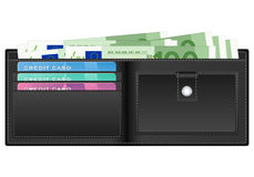 Wallet with one hundred euro banknote. Open wallet with euro banknotes and credit cards Stock Images