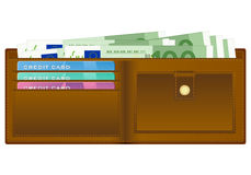 Wallet with one hundred euro banknote. Open wallet with euro banknotes and credit cards Stock Photo
