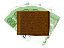 Wallet with one hundred euro banknotes. Wallet with euro banknotes and credit cards Stock Photo