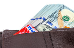Wallet open with a dollar bill sticking out and credit card, iso Royalty Free Stock Image
