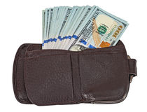 Wallet open with a dollar bill sticking out Stock Image
