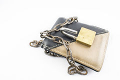 Wallet with open padlock. Wallet with chain and open padlock, on a white background Stock Photography