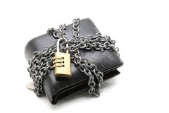 Wallet with pad lock. Black leather wallet with pad lock stock photography