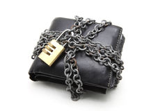 Wallet with pad lock. Black leather wallet with numeric pad lock Stock Photo