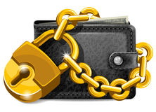 Wallet with padlock Royalty Free Stock Photos