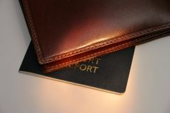 Wallet and passport. Details Royalty Free Stock Photography