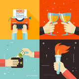 Wallet Payment Word Power Mass Media Victory. Celebration Success Hands Icon Stylish Background Modern Flat Design Vector Illustration royalty free illustration