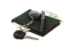 Wallet, pen and car key. Isolated on white background Royalty Free Stock Photo