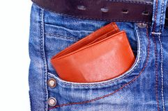 Wallet in pocket stock image