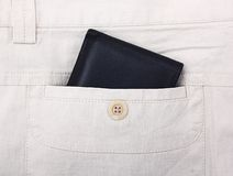 Wallet in pocket. Stock Photos