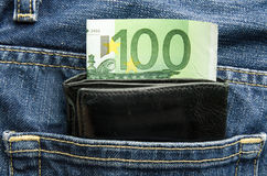 Wallet pocket with euro Royalty Free Stock Photography