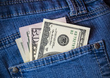 Wallet, pocket money, dollars Stock Photo