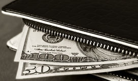 Wallet, pocket money, dollars Royalty Free Stock Images