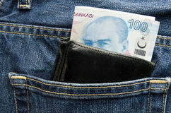 Wallet pocket with turkish lira Stock Photo
