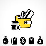 Wallet or Pocketbook Vector Icon Royalty Free Stock Photography
