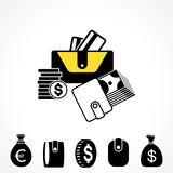 Wallet or Pocketbook Vector Icon Stock Photography