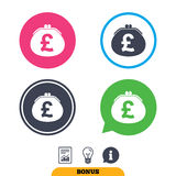 Wallet pound sign icon. Cash bag symbol. Royalty Free Stock Photography