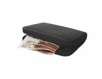 Wallet. Purse and Russian money on white background Royalty Free Stock Photography