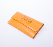 wallet or purse woman (yellow colour) on a background. Stock Photo