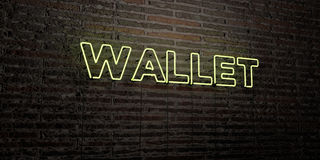 WALLET -Realistic Neon Sign on Brick Wall background - 3D rendered royalty free stock image Stock Photo