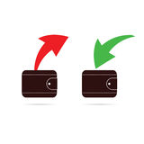 Wallet with red and green arrow vector Stock Photo