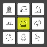 Wallet , ring , aeroplane , Ecology , eco , icons , weather , en. Viroement , icon, vector, design,  flat,  collection, style, creative,  icons , cloud , rain Stock Photos