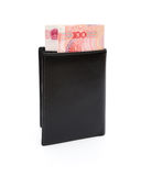 Wallet with RMB 100 paper currency with clipping path Royalty Free Stock Image