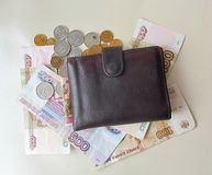 Wallet. With ruble and kopeck Stock Photography