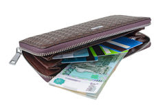Wallet with rubles and card Stock Photo
