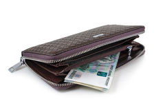 Wallet with rubles Stock Photo