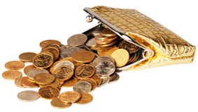 Wallet and scattered coins Stock Images