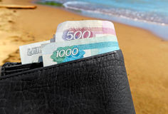 Wallet on the Seaside Background Royalty Free Stock Photography