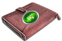 Wallet with shopping cart gauge on cover Stock Photography