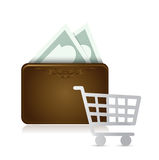 Wallet shopping cart illustration design Royalty Free Stock Images